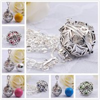 Wholesale Sterling Silver Mexican Bola - 10PCS LOT Angel caller ball harmony bola pendant with chain necklace chime ball sterling silver jewelry baby shower gift pregnancy bijoux