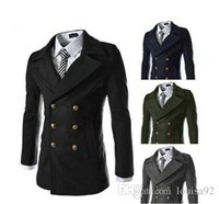 Wholesale Green Short Trench Coat - New Brand aeronautica militare long sleeve double breasted men jacket Men's Sport Trench Blends M-XXL Outerwear Coats Botton 4colors