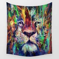 tapisserie jacquard achat en gros de-Bohême lion créatures fantaisie imprimé tapisserie de mandala Inde tapisseries décoratives murales serviette suspendue pour la décoration intérieure 150X130cm