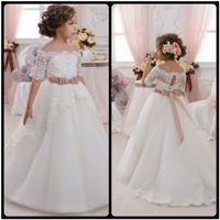 Wholesale Elegant Dresses For Ball - Elegant Custom Made Off Shoulder White Lace Flower Girls' Dresses for Wedding Lace up Vestidos de Comunion de Festa With Half Sleeve
