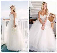 Wholesale Cheap Ball Dresses For Women - 2015 Cheap Ivory Tulle Plus Size Wedding Dresses for Women Spaghetti Straps Corset Bridal Gowns with Lace up simple bride gowns romantic