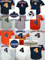 Barato al por mayor 2017 Houston fuerte WS Campeones Parche Mens Womens Youth Toddler 4 George Springer azul naranja blanco gris Baseball Jerseys