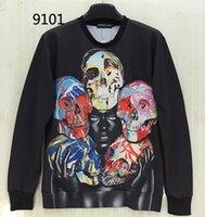 Wholesale Ladies Skull Hoodies - w1209 [Magic] black lady five Oil Skulls special hot design 3d sweatshirts men casual sweatshirt o neck hoodies 9101 free shipping