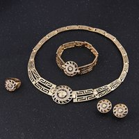 Wholesale Lionhead Necklaces - 18k Gold Plated Wedding African Beads Jewelry Set Crystal Vintage Earring Bracelet Necklace Ring Fashion Lionhead 5sets lot