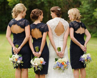 Wholesale Bridesmaid Dresses Knee Length Keyhole - 2015 Cheap Short Lace Bridesmaid Dresses in Real Wedding Cap Sleeves Keyhole Back Navy Blue Knee-Length Bridesmaid Gowns Plus Size