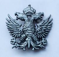 gürtel emblem großhandel-Russland Türkei Emblem Retro Metall Krone Double Eagle Gürtelschnalle SW-BY718 für 4 cm breit Snap auf Gürtel mit durchgehenden Lager