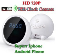 Wholesale Iphone Weatherproof - Free shipping clock Mini Hidden Wifi ip spy Camera Clock Secret IP Camera P2P Wifi Wireless Camcorder Clock for Android and iPhone White