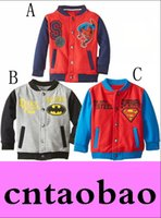 Wholesale Kids Superman Winter Coats - New Design Girls Boy's Spider-Man jackets coats Batman Superman sport Kids Baseball Outerwear & Coats,autumn children's coat