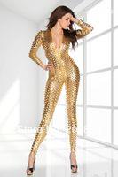 Wholesale Golden Lingerie - w1029 sexy lingerie black silver golden jumpsuit new set sleepwear costume underwear uniform