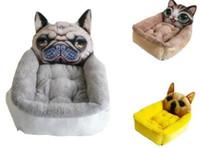 haustier plüsch hundehäuser großhandel-Soft Short Plüsch Hund Bett Winter Warme Katze Sofas Haus Atmungs Welpen Produkte S M