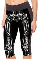 Wholesale Black Milk Bones - HOT Women Black Milk Black Mechanical Bone Printed Pants Summer Sport Stretch Cropped Trousers Mid Calf Leggings S-XL LC1005