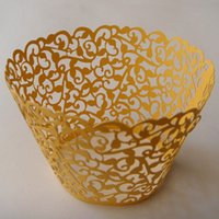 Wholesale Cupcake Wrapper Yellow - Free shipping 120pcs Gold yellow Ivy Vine Laser cut Lace paper Cup Cake Wrapper Cupcake Wrapper FOR Wedding christmas Party
