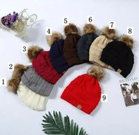 Wholesale 12 Sun Hats - Unisex CC Trendy Hats Winter Knitted Fur Poms Beanie Label Fedora Luxury Cable Slouchy Skull Caps Fashion Leisure Beanie Outdoor Hats 12 pcs