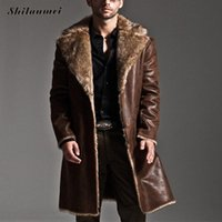 Wholesale Vintage Leather Trench - Wholesale- Mens Black Leather Jacket Faux Fur Coat Long Laather Trench Overcoat Men Vintage Thick Reversible Pocket Overcoat Plus Size 7XL