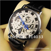 Wholesale Mens Wrist Watches Manual - Silver Mens Manual Skeleton Mechanical Watch Wrist Watch Xmas Gift 30pcs DHL Free delivery