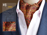 Wholesale Mens Silk Cravats - High Quality Brand Scarves Mens Suit Paisley Printing Ascot Cravat Collar Point Polyester Wedding Party Silk Scarves Neckerchief New Arrival