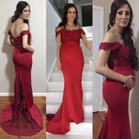 Wholesale Bare Back Dress Blue - 2017 Sexy Pregnant Dark Red Evening Dresses Mermaid Cap Sleeve Evening Gowns Off Shoulder Low Bare Back Prom Dresses Lace satin Contact