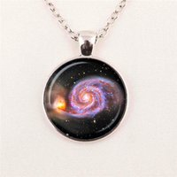 Wholesale Turquoise Copper Gemstone - GALAXY NECKLACE UNIVERSE necklace ASTRONOMY JEWELRY Space universe Art Gifts for Her Turquoise White pendant glass gemstone necklace 115