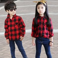 Wholesale Wholesale Quality Shirts - Spring New Arrival Red grid boy girls shirt high quality long sleeve plaid Children casual shirts