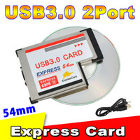 Wholesale Expresscard Card 54mm - Wholesale- 2016 New Arrival Express Card 54mm to USB 3.0 2 Port Expresscard PCI-E to USB Adapter Hot Sale