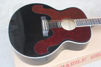 akustik gitar telleri ücretsiz gönderim toptan satış-Fabrika Özel Yüksek Kaliteli Ladin Üst Siyah 6 Strings Akustik Gitar Ücretsiz Kargo