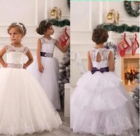 Wholesale Girls Layered Lace Dress - 2018 New Elegant Lace Flower Girl Dresses Tulle Ball Gown Layered Lace Applique Beaded Bow Sash Girl Pageant Dresses BO8326