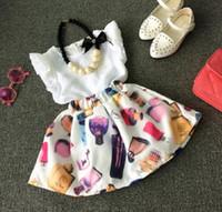 Wholesale Perfume Brand Top - Summer Wear Girls Set Kids 2pcs Set Ruffles White Chiffon Blouse Tops + Perfume Printed Skirt Child Clothing Suit Children Outfits 11263
