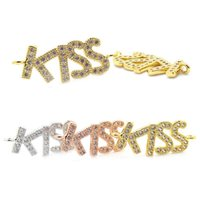 Barato Pavimentar Conector Charme Amor-Charm 18K Gold Kiss Letter Pendant Micro Pave Cubic Zirconia Kiss Connector Beads Fit For Love Braceletes Jewlery Making 10mm * 24mm