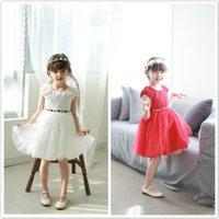 Wholesale Summer Girls Gauze Princess - 2016 Summer New Korean Color Gauze Princess Dresses Flower Girls Dresses for Weddings Cheap Wedding Dresses