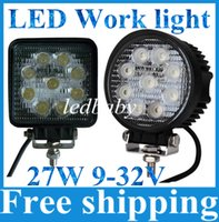 "Wholesale Car Truck Led Driving Lights - 2pcs 12V 24V 4"" 4inch 27W Spotlight Floodlight car Tractor Truck SUV boat 4X4 4WD Jeep Offroad driving LED work light bulbs bar"