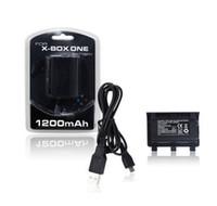 pil takımı kablosu xbox toptan satış-Toptan Satış - Xbox bir Pil 1200mAH Şarj Edilebilir Pil Paketi Perakende Paketi ile XBOX ONE Wireless Controller için Kablo ile