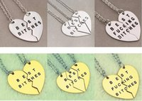 Wholesale Statement Necklace Parts - New Arrive Fashion Statement Necklace Broken Heart 3 Parts Gold Best Bitches Pendant Necklace 12pcs lot Free Shipping
