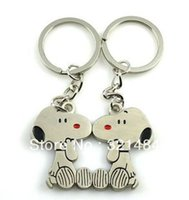 Wholesale Dog Key - Wholesale Promotion Gift 50piece=25pair #100 Cute Dog Metal Lovers Keychain Key Chain Keyring Keyfobs Creative Accessories