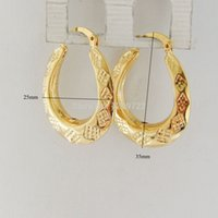 Großhandels-minimaler Auftrag 10 $ / CARVED 24K YELLOW GOLD GP FILL BRASS OVAL HOOP TALL 1.4