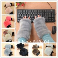 Wholesale Wool Fur Fingerless Long Gloves - Wholesale-free shipping Faux fur semi-finger design long gloves thermal wool yarn gloves women's winter computer