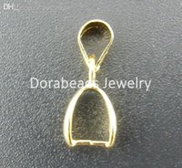 Wholesale Gold Plated Pinch Clip Bail - Wholesale-hot- 25PCs Gold Plated Pinch Clip Bail Beads Findings 7*17mm (B00948)