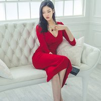 Wholesale korean winter dresses - Womens Long Dresses Elegant Sexy V-neck Party Evening Sheath Vestido Autumn Winter Korean OL Pencil Bodycon Dress dongguan_wholesale