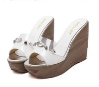 2016 Plate-forme New Crystal Transparent Pu Wedge Femme Chaussons Chaussures à talons hauts Chaussures de taille 35 à 39
