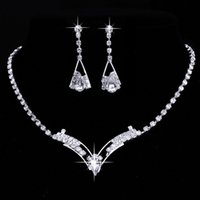 Wholesale Silver Sterling Jewellry Necklace - 925 Sterling Silver Plated Jewelry Set Diamond Earrings Rhinestone Crystal Necklace Earrings for Women wedding prom party Jewellry Set