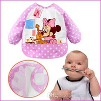 Wholesale High Quality Aprons Wholesale - 2015 High Quality New Cute Cartoon Children Baby Todder Waterproof Long Sleeve for baby self feeding Brand Art Smock Bib Apron A5