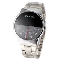 Wholesale Paidu Brand - Paidu Brand Black Silver Quartz Metal Mesh Band Wrist Watch Mens Boy Turntable Dial Digital Gift Wristwatches