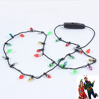 Wholesale String For Kids - LED Light Up Christmas Bulb Necklace Plastic Party Favors Ugly Xmas Festival Flash Glowing String Necklaces For Adults Kids HH7-272