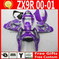 Wholesale Kawasaki Motorcycle Body Parts - Custom ABS plastic factory fairings kits for Kawasaki Ninja zx9r 2000 2001 ZX9R 00 01 ZX-9R purple silver motorcycle body fairing parts 7R