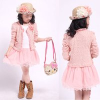 Wholesale Girls Dress Coats For Spring - Retail Girls Winter Clothing Sets 2016 Autumn Long Sleeve Lace Bow Dress + Coat Kids Girl 2pcs Set Children Clothes For Christmas 201511HX