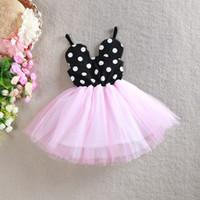 Wholesale Dress Polka Dot Pink Girls - New summer Children princess dress Girls Mickey polka dots suspender tulle tutu dress kids cotton sundress children clothes A6447