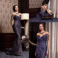 vestido de baile de la espalda de la espalda abierta al por mayor-Prom Vestidos Azul Marino Espalda Abierta Largo escote de ilusión Vestido largo de tul de encaje floral y lentejuelas Vestido formal Vestido de noche