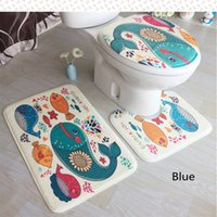 Wholesale Persian Style - 2017 Hot style hot sale 3D ocean dolphin carpet flannel three-piece toilet floor mat manufacturers wholesale