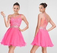 Wholesale Top Sexy Ball - 2016 Short Homecoming Dresses Hot Pink Sexy One Shoulder Ball Gown Tulle Crystal Top Cheap Prom Party Dress Sweet 16 Dresses For Girls