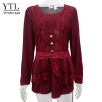 Wholesale Elegant Lace Blouses For Ladies - Yitonglian Vintage Wine Red Lace Button Cardigan Sleeve Autumn Slim Shirt for Ladies Elegant Patchwork Big Size Blouse 7XL H029