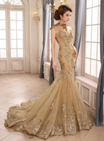 rainha sereia venda por atacado-2019 Sereia de Luxo Vestidos de Noite Sem Encosto Tribunal Trem De Lantejoulas Sheer Pescoço Ver Através Formal Prom Dress Beauty Queen Pageant Vestido Vestidos